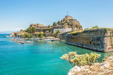 The Old Venetian Fortress is built on the east side of the Old Corfu town & our view from Mayor Mon Repos Palace rooms.